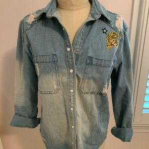 Free People Denim Embroidered Shirt